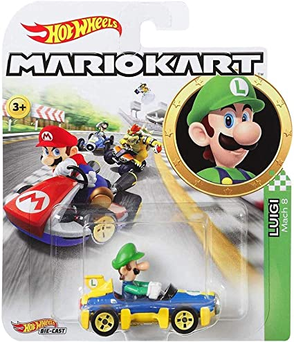 Amazon Com Hot Wheels Luigi Mach 8 Super Mario Kart Character Car
