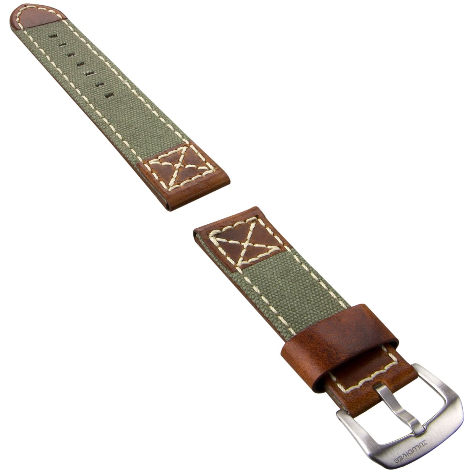 ZULUDIVER Canvas & Italian Leather Watch Strap, Army Green & Vintage Brown, 22mm by ZULUDIVER (Image #2)