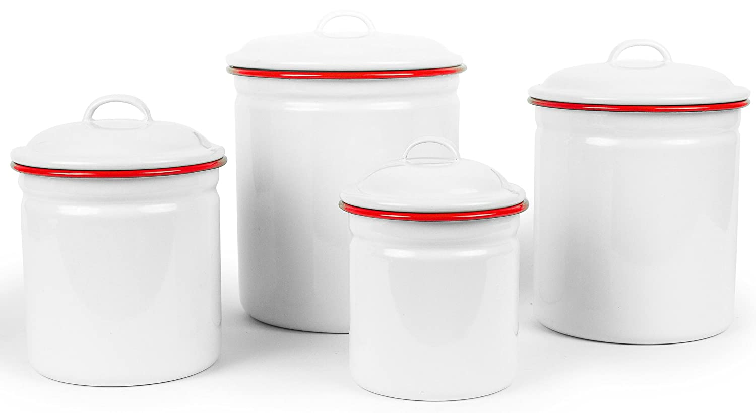 Enamelware 4 Piece Canister Set - Solid White with Red Rim