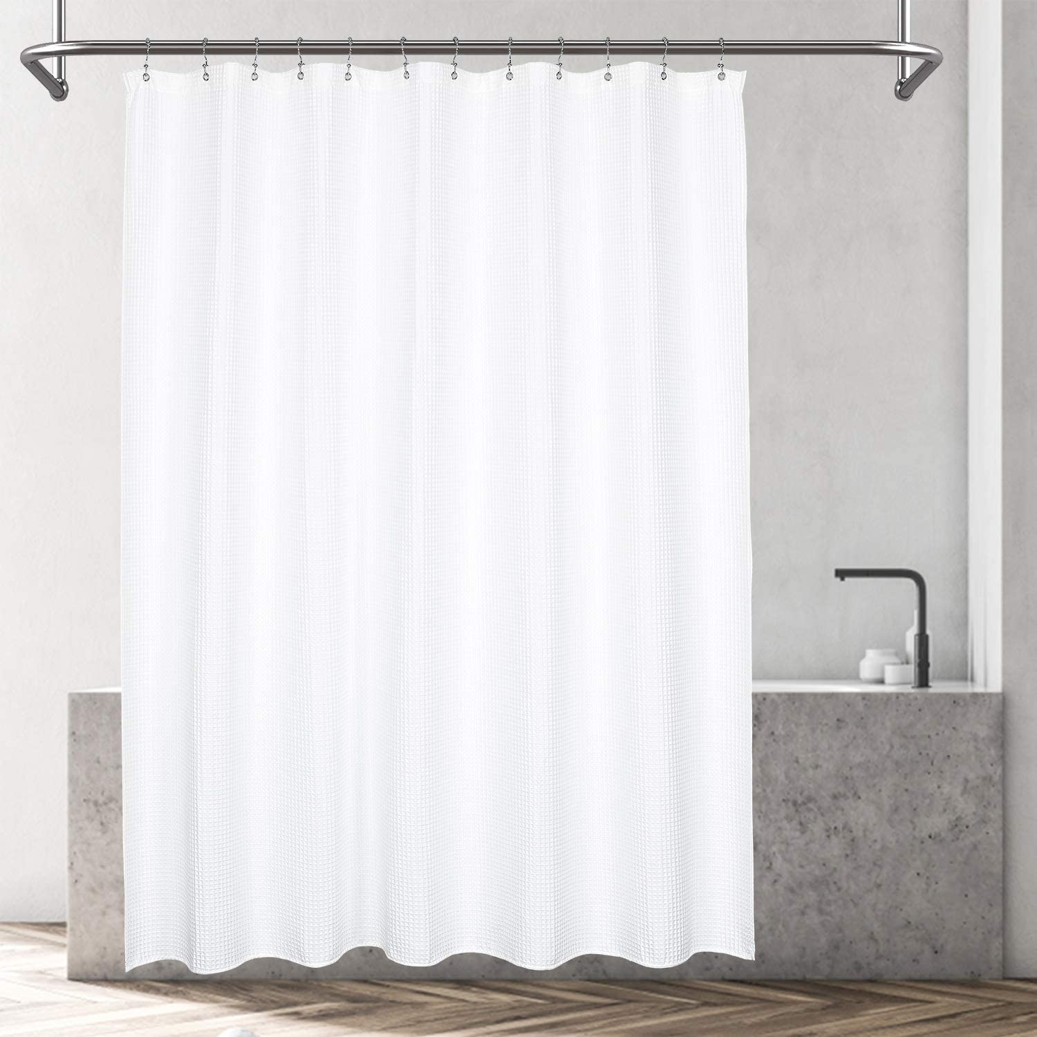 Barossa Design Cotton Blend Shower Curtain Honeycomb Waffle Weave, Hotel Collection, Spa, Washable, White, 72 x 72 inch: Home & Kitchen