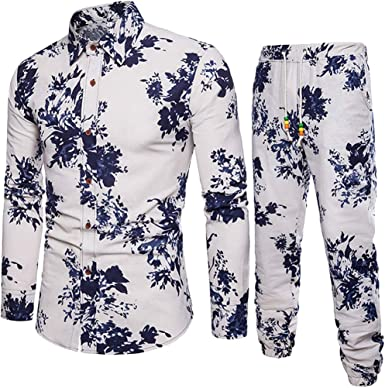 GREFER Casual Button-Down Shirts Mens Long Sleeved Printed Top Blouse