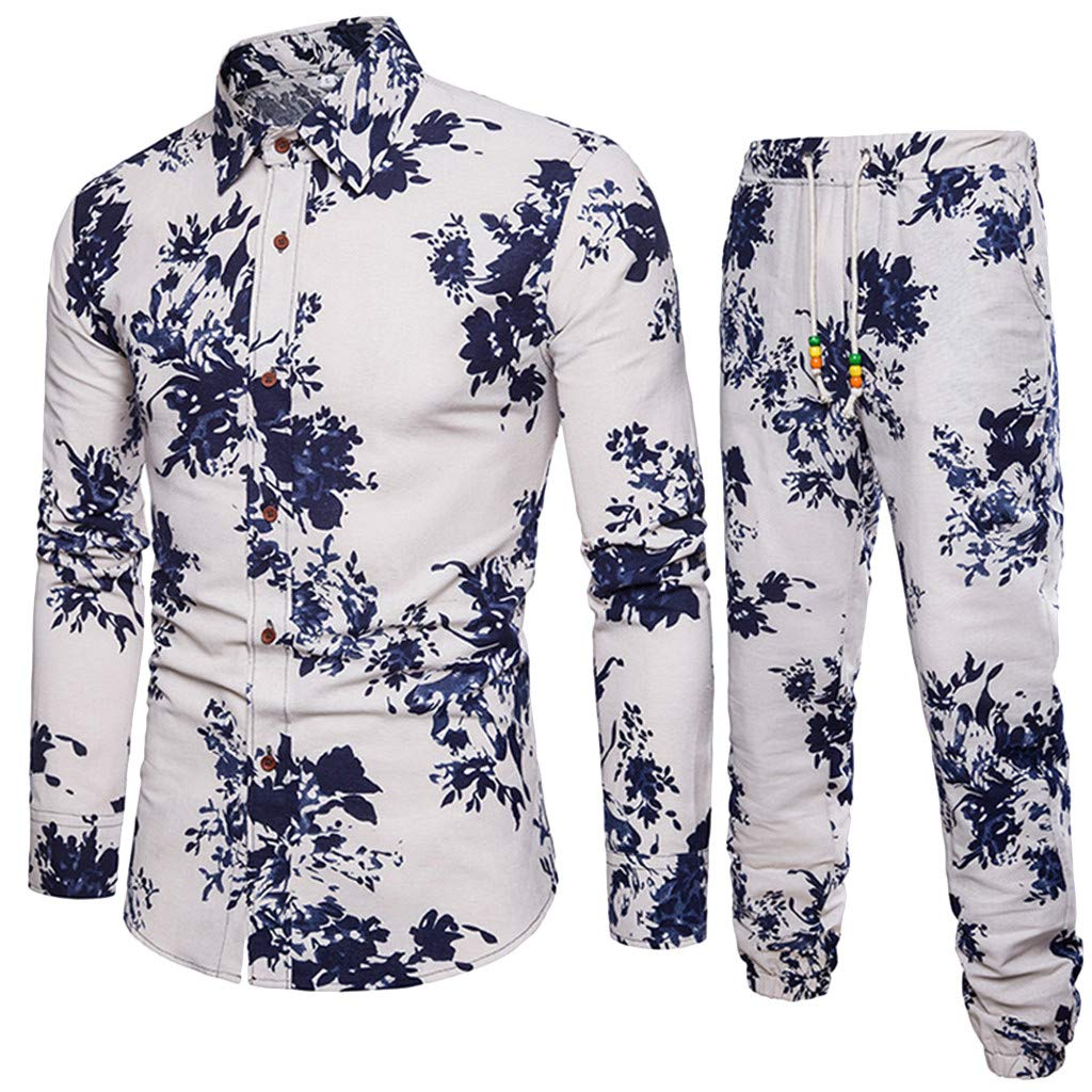 2019 Newest Leisure Suit for Men Slim Fit Printed Long Sleeve Button Down Shirt+Joggers Pants Tracksuit Set by-NEWONESUN White