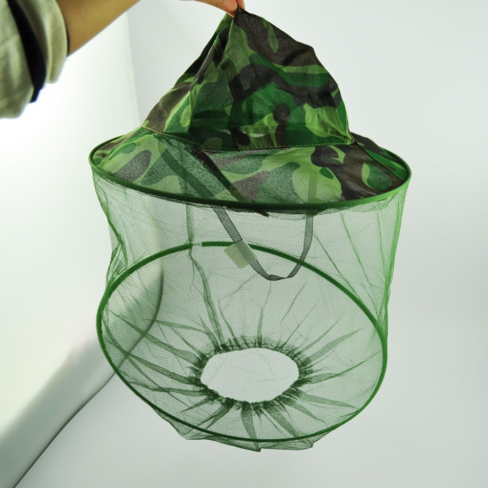 Colore: verde Camouflage, Rete Anti-zanzare con cappuccio in Nylon-Cappello da pesca DDING