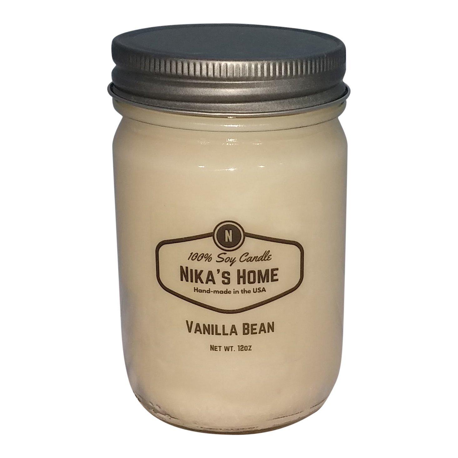 Nika's Home Vanilla Bean 12oz Mason Soy Candle by Nika's Home