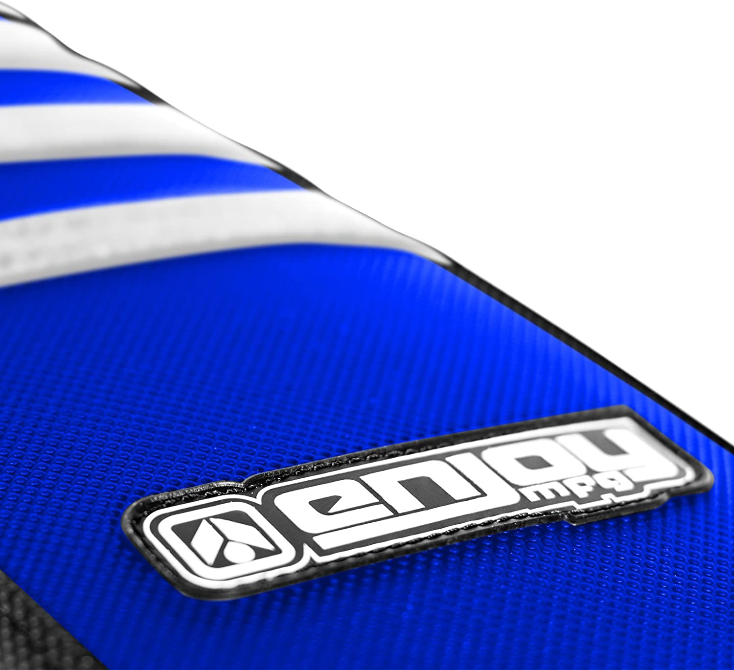 Enjoy MFG 2006-2013 Yamaha WR 250 F Black Sides Blue Top White Ribs Seat Cover