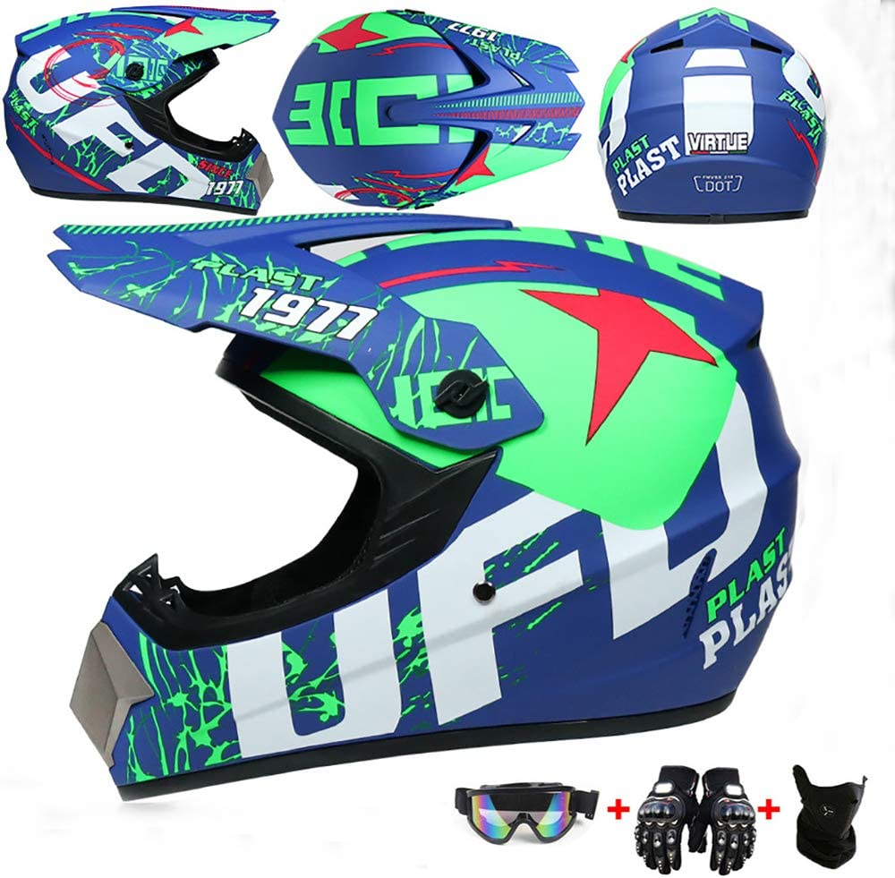 WRISCG Motocross Helm Motorradhelm Kind Sturzhelm Off Road Integralhelm mit Schutzbrille Handschuhe Maske Helm UFO-Muster ATV Offroad Downhill Dirt Bike MX Go-Kart-MTB-Rennhelm