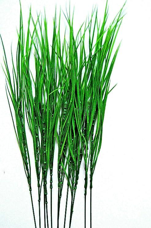 12 Kunstgras Stiele Gräser Strauß Kunstblumen Grasstiel Grün