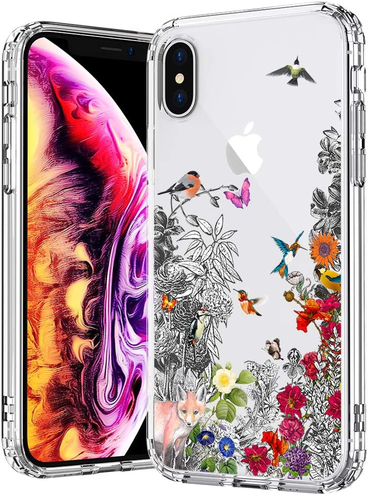 MOSNOVO Floral Flower Humming Bird Pattern Designed for iPhone Xs Case/Designed for iPhone X Case - Clear