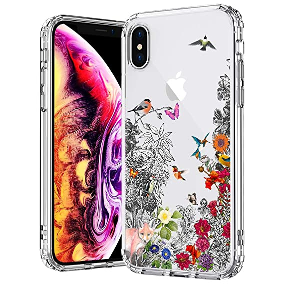 the latest 42636 04626 MOSNOVO Case for iPhone Xs/iPhone X, Floral Flower Humming Bird Clear Hard  Case Design with Shockproof Protective Back Case Cover for Apple iPhone ...