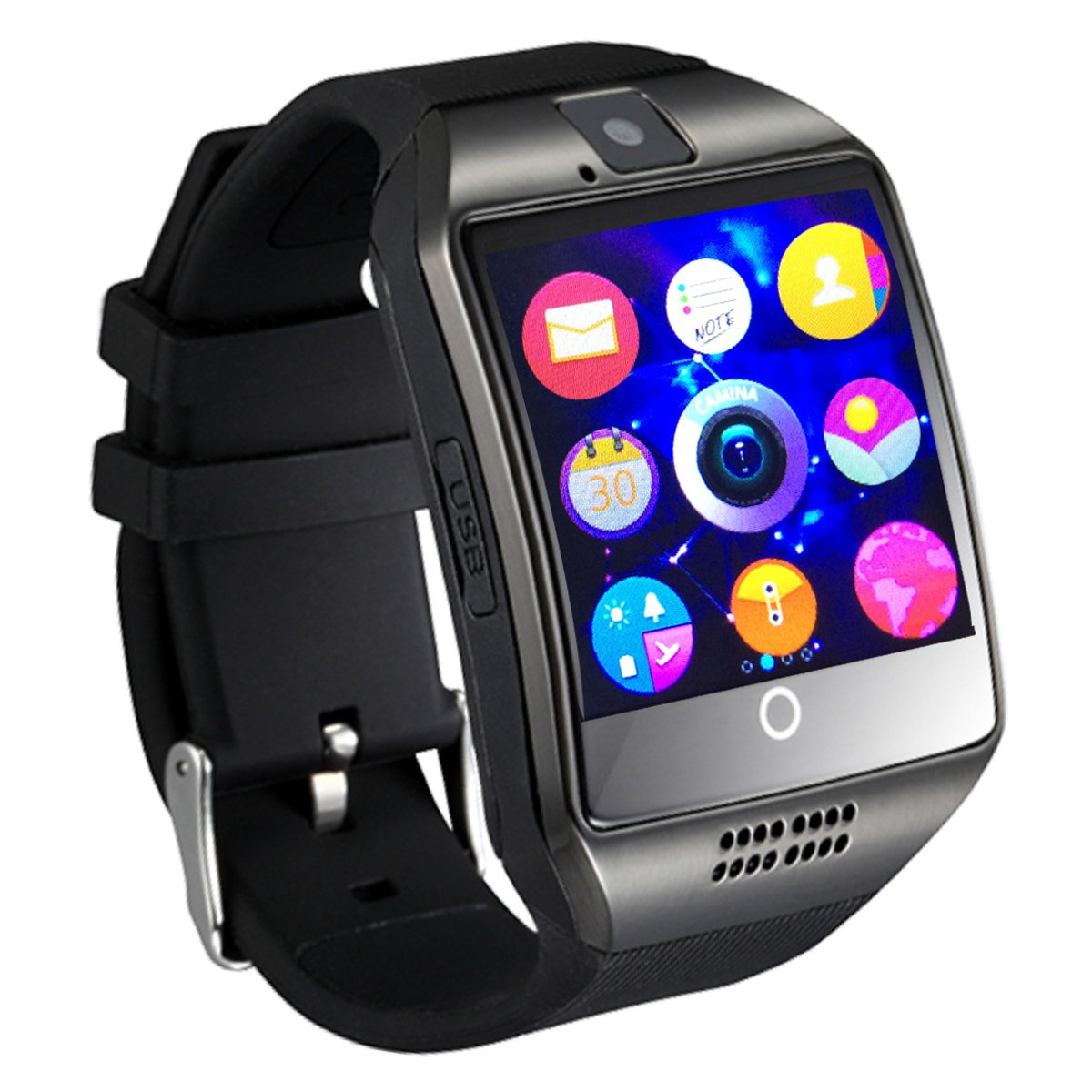 (2nd Generation) Smart Watch,OURSPOP Bluetooth SmartWatch Unlocked Watch Cell Phone -1.54inch Touch Screen GSM 2G SIM Card Sleep Monitor Remote Sync for Android (Q1 Black)