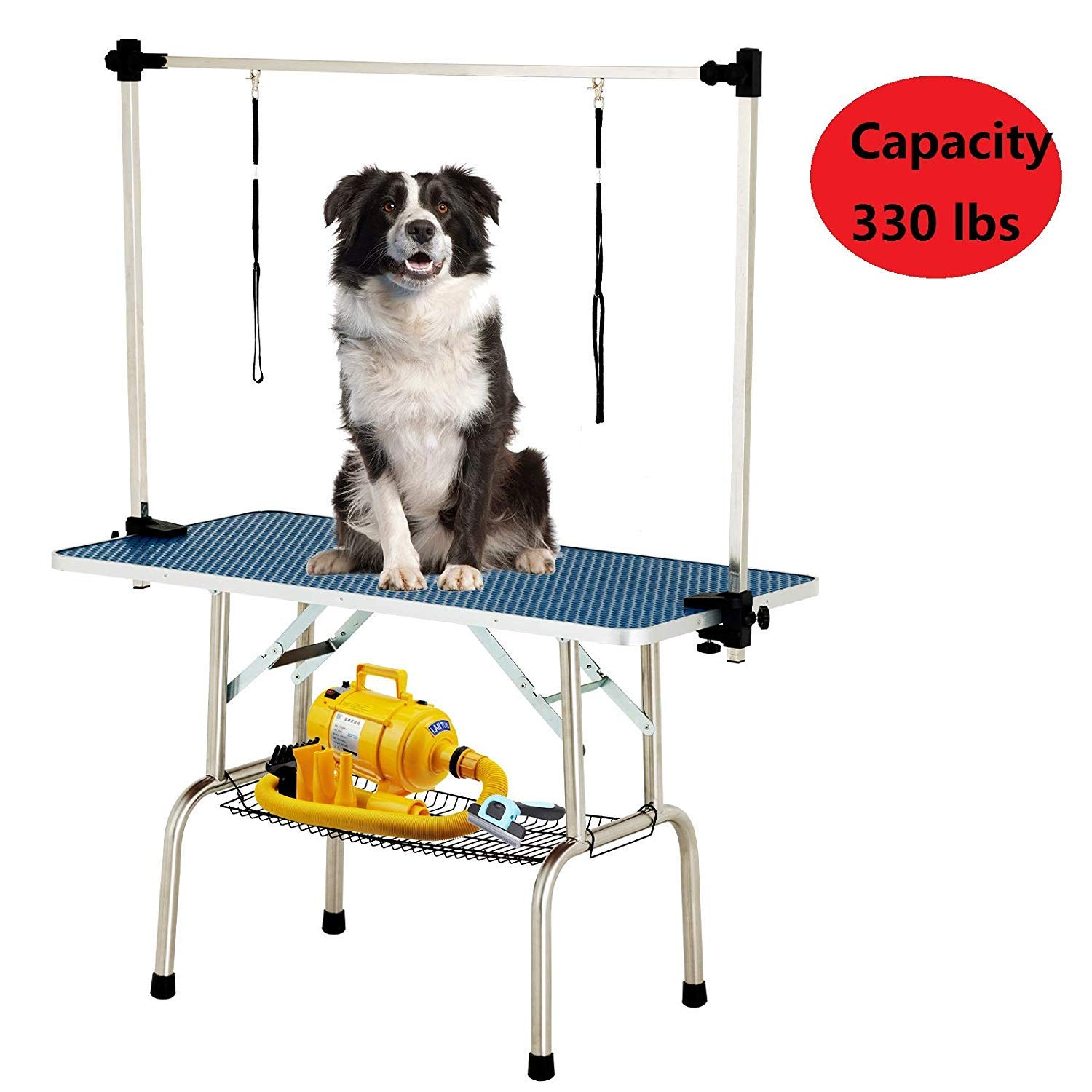 SUNCOO 48 Inch Large Portable Pet Dog Grooming Table Upgraded Professional Foldable Drying Trimming Table, Heavy Duty Stainless Steel Frame, Adjustable Arm/Noose/Mesh Tray, 330lbs Maximum Capacity by SUNCOO