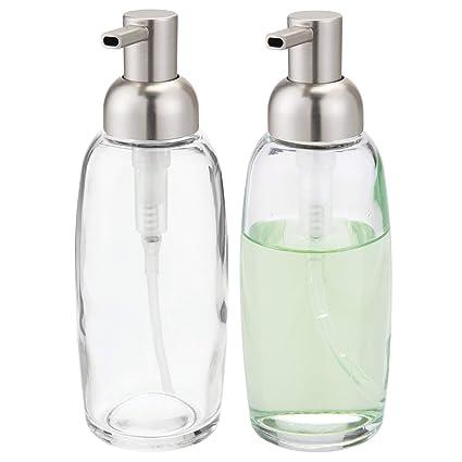 mDesign Juego de 2 dispensadores de jabón recargables – Dosificadores de cristal y plástico – Dosificador