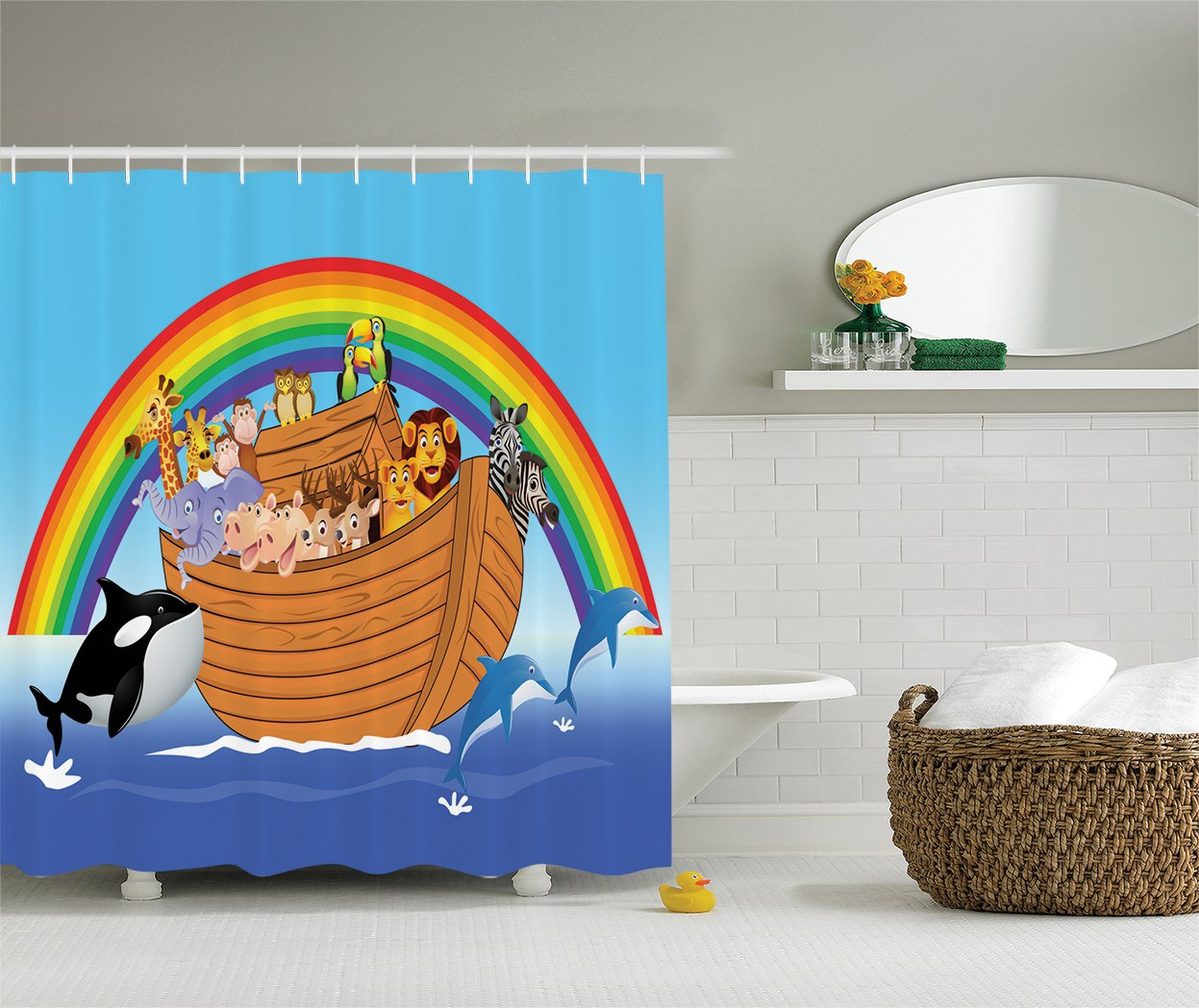 Ambesonne Noah's Ark Decor Collection, Noah's Ark with Funny Animals Dolphins Swimming Artistic Design, Polyester Fabric Bathroom Shower Curtain, Peru Blue Red Yellow