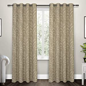 Exclusive Home Curtains Kilberry Woven Blackout Grommet Top Curtain Panel Pair, 52x96, Natural, 2 Count