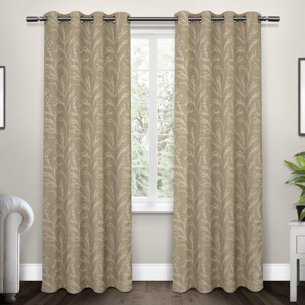 Natural 52x108 Exclusive Home Curtains Kilberry Woven Blackout Window Curtain Panel Pair with Grommet Top, 52x96, Ash Grey, 2 Piece
