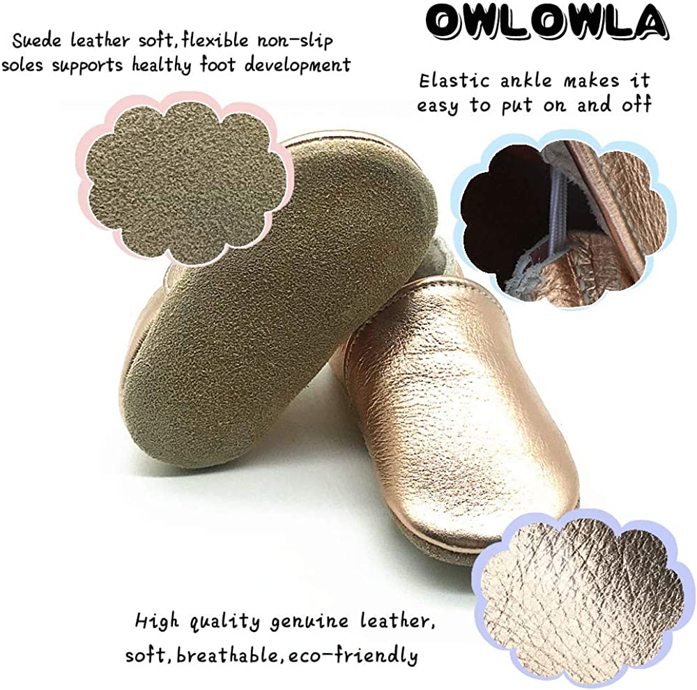 Owlowla Baby Soft Sole Leather Crib Shoes Infant Toddler Pre-Walker Shoes Boy Girl /…
