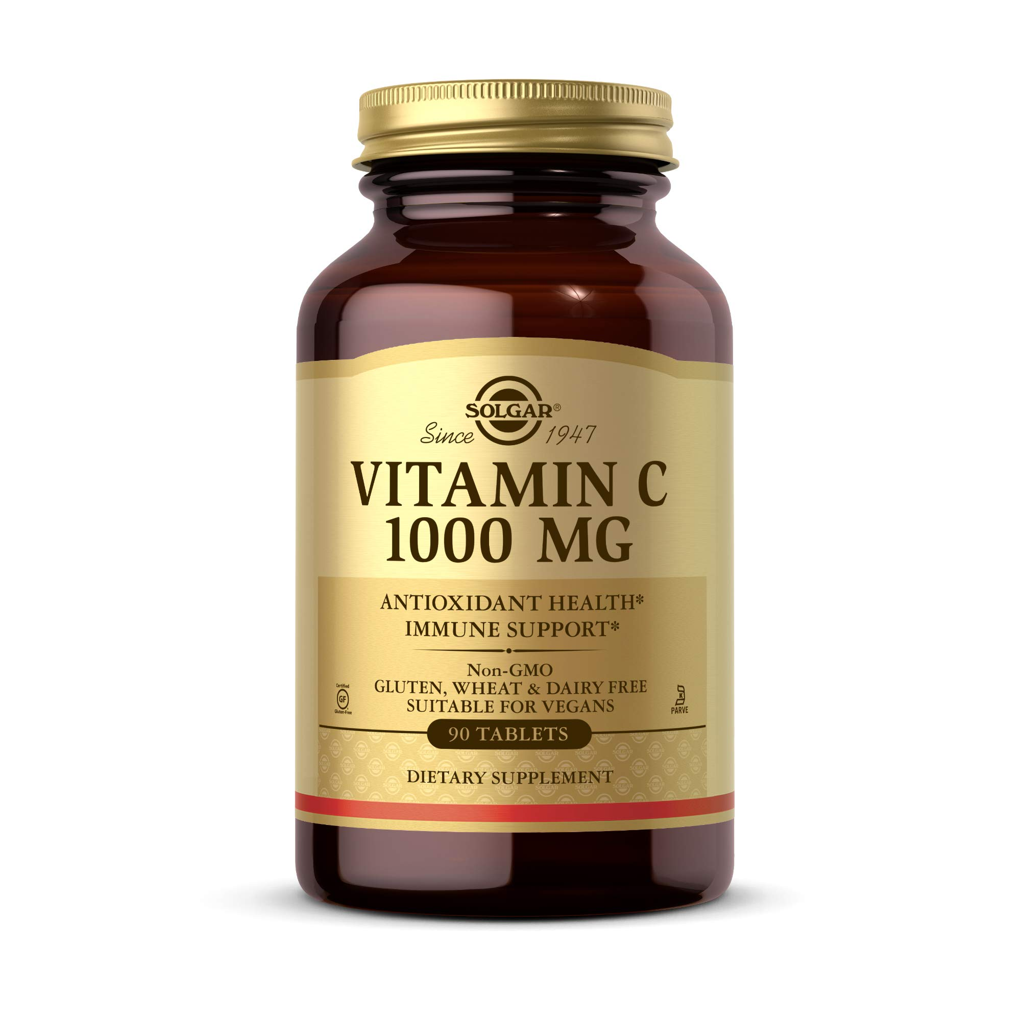 Solgar Vitamin C 1000 mg, 90 Tablets - Antioxidant & Immune Support, Overall Health, Healthy Skin & Joints - Bioflavonoids Supplement - Non-GMO, Vegan, Gluten Free, Kosher - 90 Servings