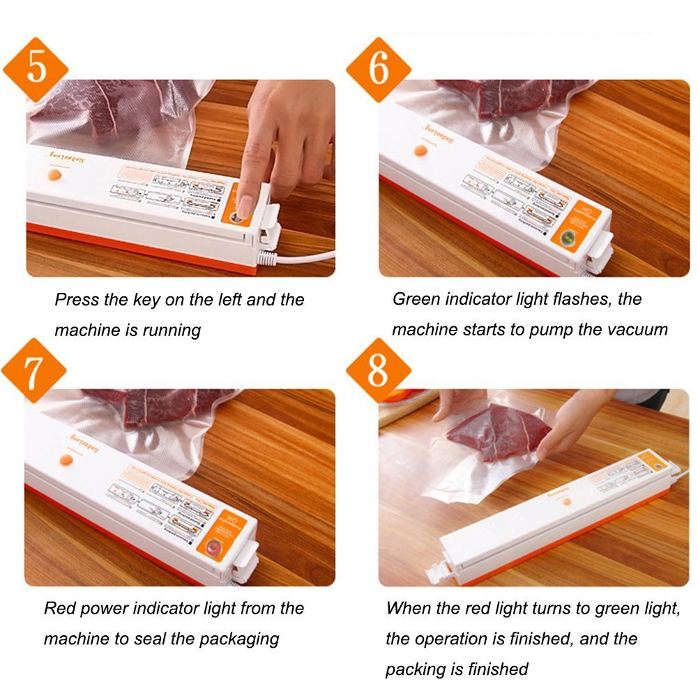 Hansemay Mini Vacuum Sealer, Automatical Food Vacuum Seal Machine for Dry / Wet Preservation Packing kit with 15 pcs Vacuum Bags(gifted)
