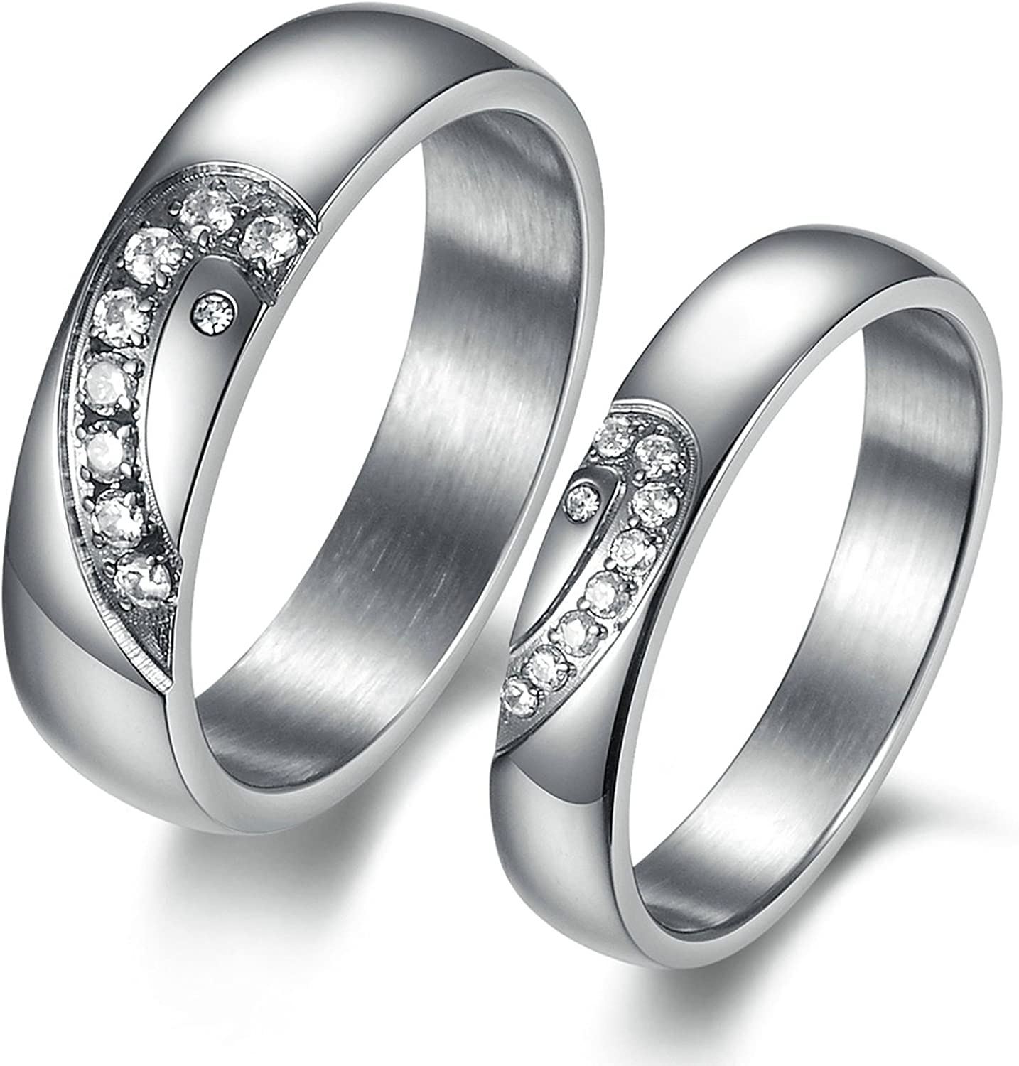 Daesar Mens Womens Wedding Bands Stainless Steel Silver Gold Highly Polished Rings for Couples 4mm /& 6mm