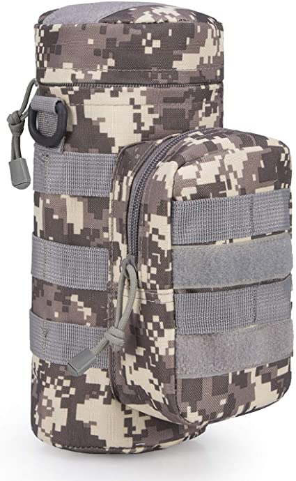 Tactical Military Molle Zipper Water Bottle Pouch Bag Holder Camping Hiking Camo