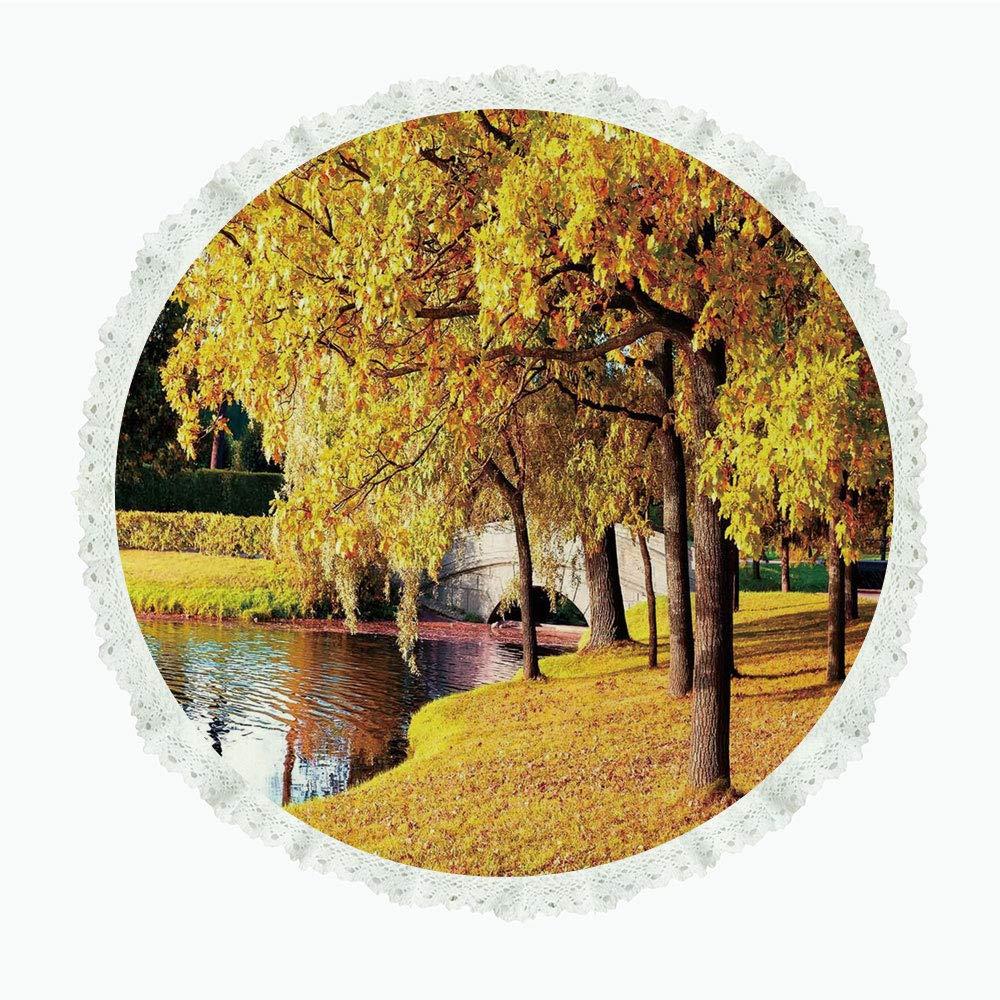 iPrint 36インチ ラウンド ポリエステル リネン テーブルクロス 自然の装飾 サンキュー引用句 枝からぶら下がる 葉 バブルハート アート ブラック グリーン レッド ディナーキッチン ホームデコレーション Round 60