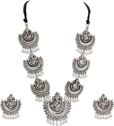 Oxidized Peacock Rudraksya Necklace Earrings Indian Jewelry Metal Fashion