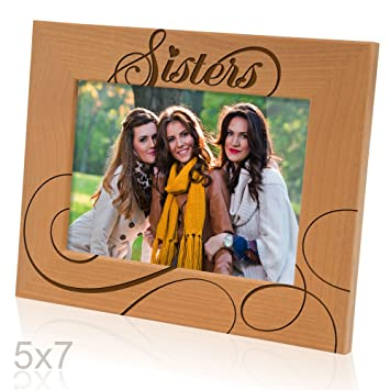 Amazoncom Kate Posh Sisters Picture Frame Engraved Natural