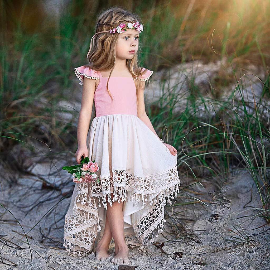 feiXIANG Vestiti da Principessa di Backless Abiti Senza Spalline in Pizzo Vestito Cerimonia Formale Battesimo Abito Elegante della Neonata dei Bambini 1-5 Anni