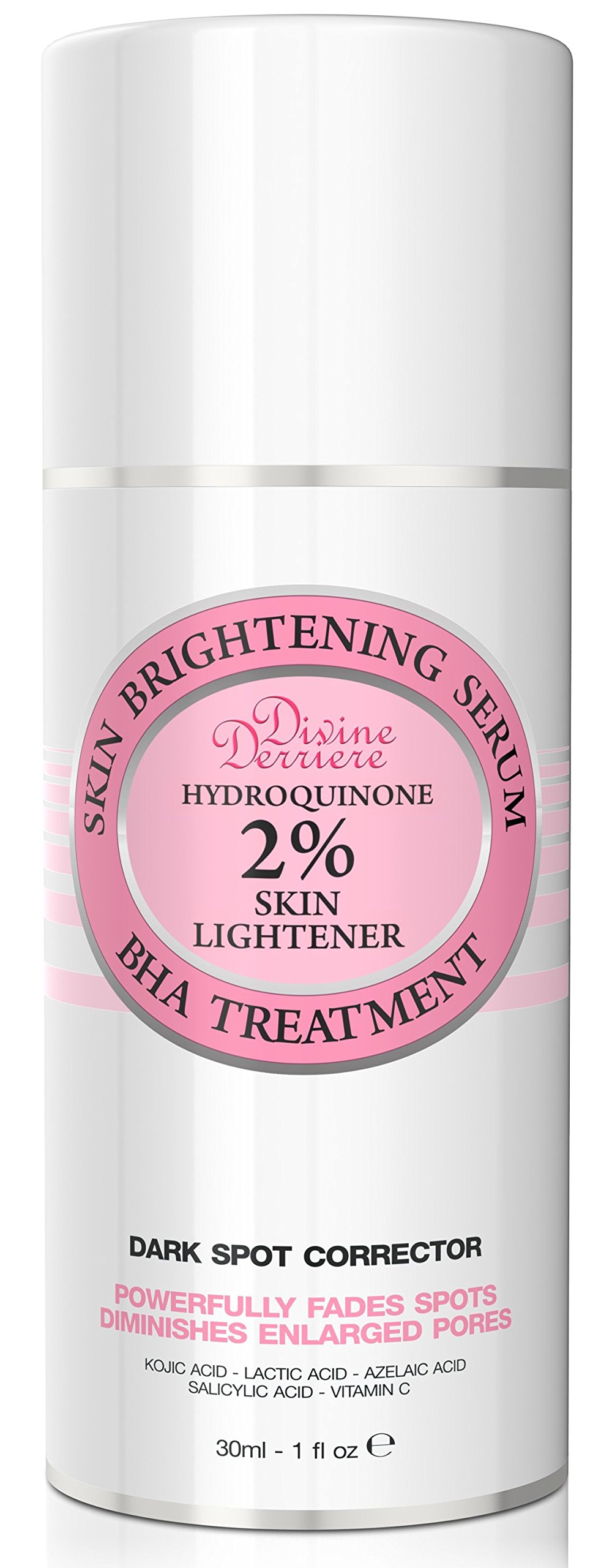 Divine Derriere Skin Lightening 2% Hydroquinone Dark Spot Corrector For Face & Melasma Treatment Fade Cream - Contains Vitamin C, Salicylic Acid, Kojic Acid, Azelaic Acid and Lactic Acid 1.0 oz / 30ml