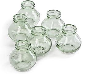 """Serene Spaces Living Mini Green Glass Le Midi Bell Bud Vase, Centerpiece for Wedding Reception, Mini Flower Vases for Home Decor, Vintage Bottle Style Vase, Measures 2.75"""" Tall & 2.75"""" Diameter"""