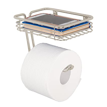 wall mounted toilet paper holder. MDesign Wall Mount Toilet Tissue Paper Roll Holder And Dispenser With Storage Shelf For Bathroom Mounted E