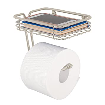 Amazoncom Mdesign Metal Wall Mount Toilet Tissue Paper Roll Holder