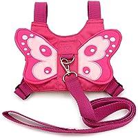 Btsky - Imbracatura di sicurezza per bebè, motivo: ali di farfalla, con cinghie e cintura con gancio in piombo, colore: rosa