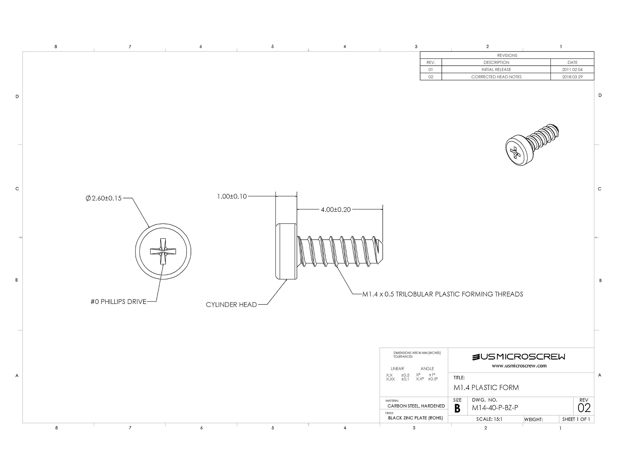 M1.4 X 4mm Plastic Thread Forming Screw Black Zinc Plated Steel Pan Head Phillips Drive (100 Pcs) - M14-40-P-BZ-P by US Micro Screw