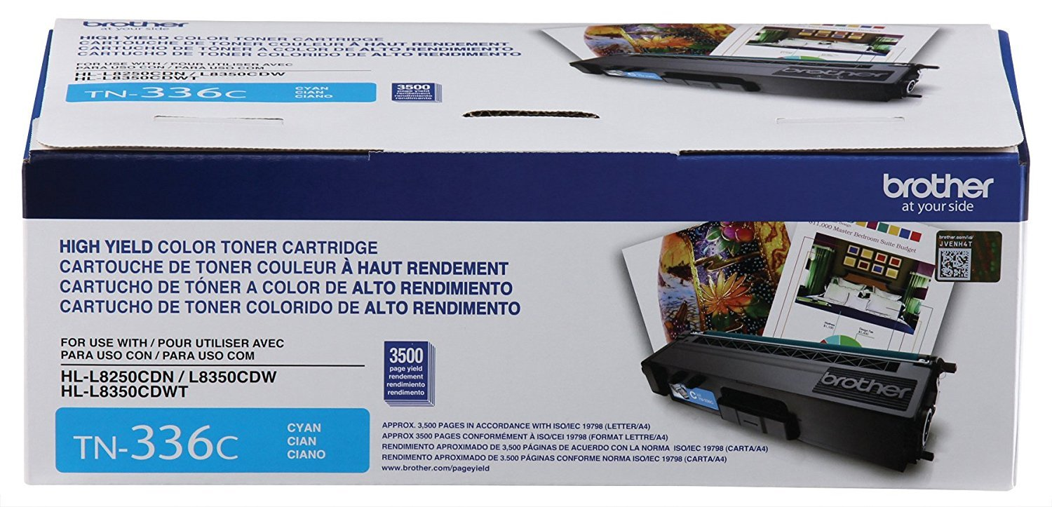 Brother TN336BK, TN336C, TN336M, TN336Y High Yield Black, Cyan, Magenta and Yellow  Toner Cartridge Set by Brother (Image #4)