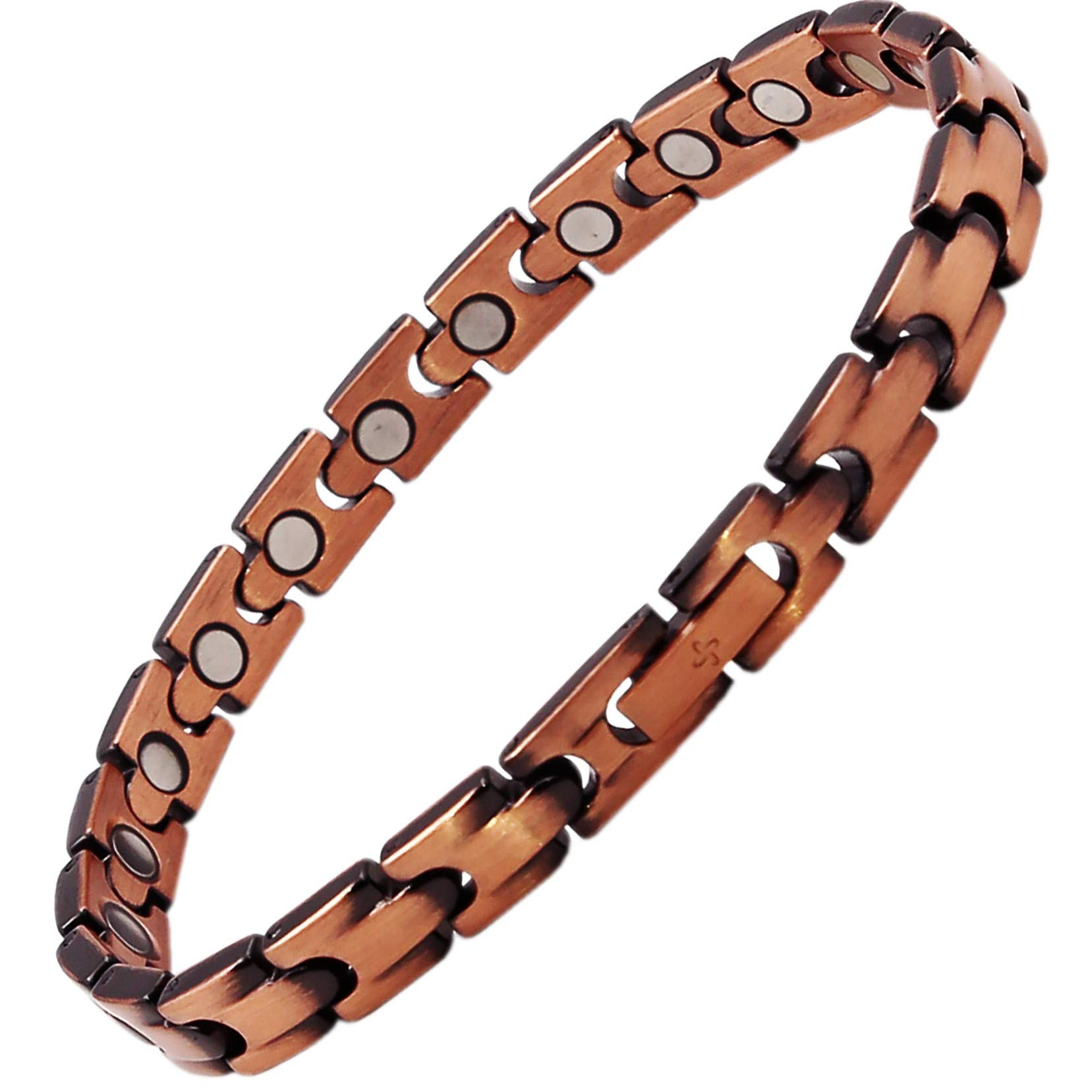 Reevaria Copper Bracelet for Arthritis, 99.9% Pure Copper Magnetic Bracelet for Women, 21 Powerful Magnets, Effective & Natural Relief of Joint Pain, RSI, Carpal Tunnel (20.30 Centimeter) by Reevaria