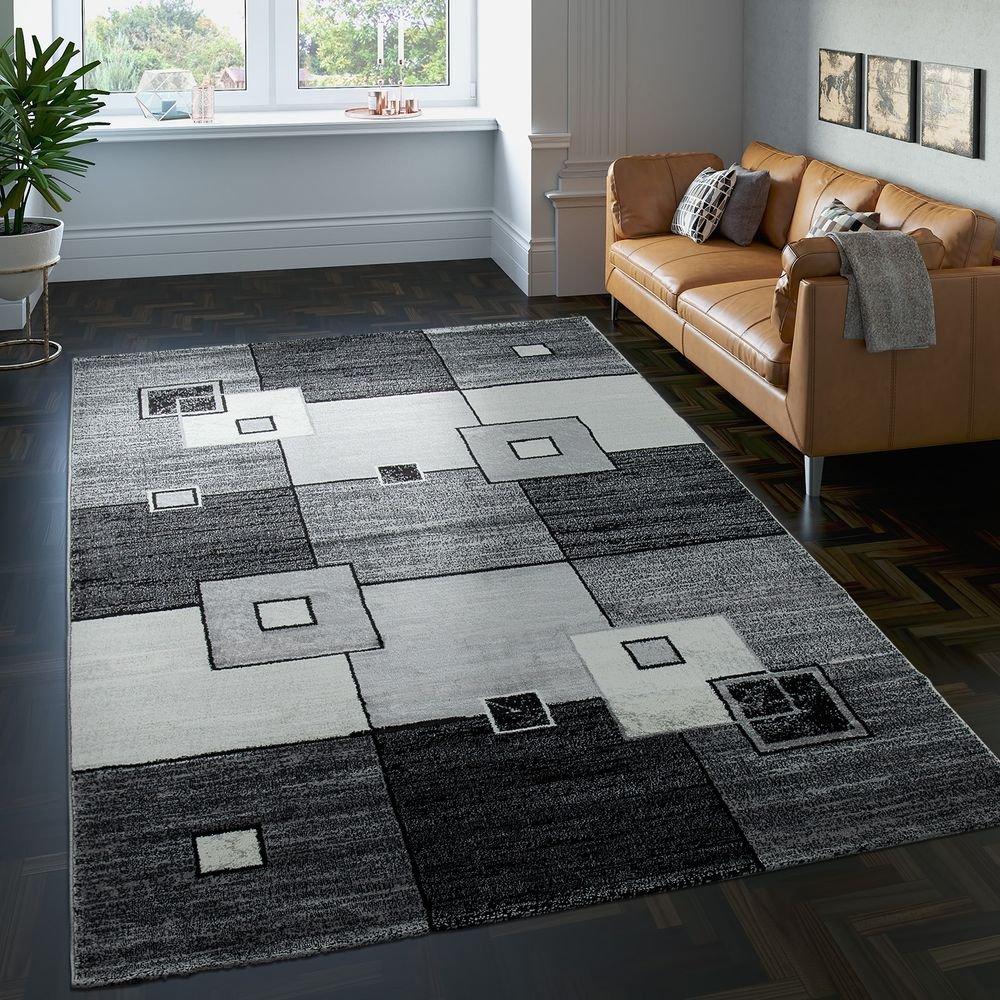 PHC Edler Designer Teppich Kariert Kurzflor in Grau Creme Schwarz Meliert, Grösse 200x290 cm