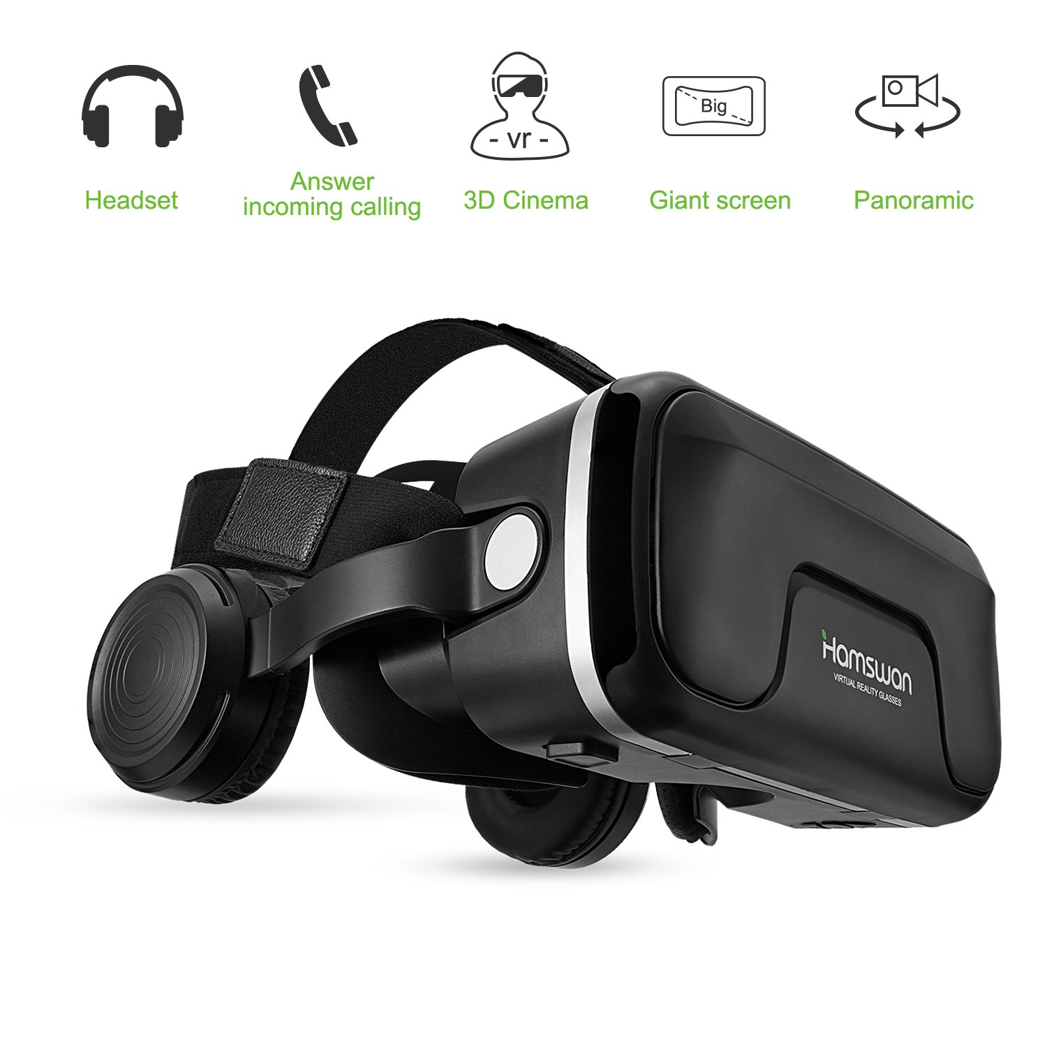 VR Headset, HAMSWAN 3D VR Glasses VR Goggles Virtual Reality Headset Goggles with Built-in Headset, Adjustable Belt, 120 Degree FOV and Multifunction Button Compatible with iPhone and Android phones