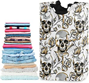 visesunny Gold Skull and Rose Floral Large Laundry Hamper with Handle Foldable Durable Clothes Hamper Laundry Bag Toy Bin for Bathroom, Bedroom, Dorm, Travel