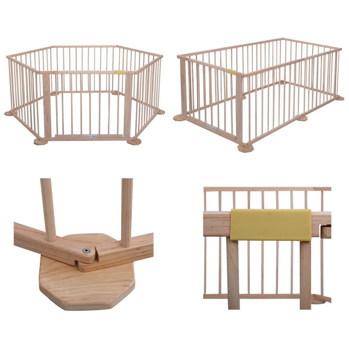6 Panel Narural Wooden Safety Playpen Baby Children Indoor/Outdoor Divider