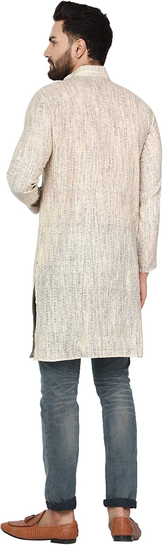 SKAVIJ Herren Indisch Khadi Baumwolle Traditionelle Sommer Kurta Hemd