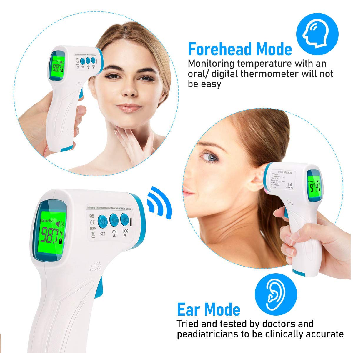 Non-Contact Forehead Infrared Thermometer with Fever Alarm,Body /& Object Mode,US Stock 3~5 Days Delivery Thermometer for Adults
