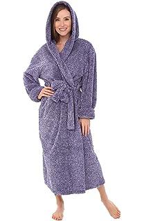e66e27da1f Alexander Del Rossa Womens Full Length Hooded Plush Fleece Robe