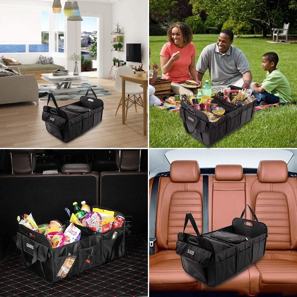 QUEES Trunk Organizer with Built-in Leak-Proof Cooler Storage Bag Cargo Grocery Organizer for SUV