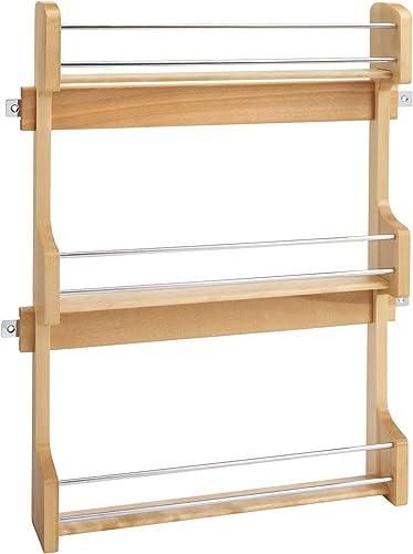 Rev-A-Shelf 4SR-21 21-Inch Kitchen Cabinet Door Mounted Wooden 3-Shelf Storage Spice Rack, Maple