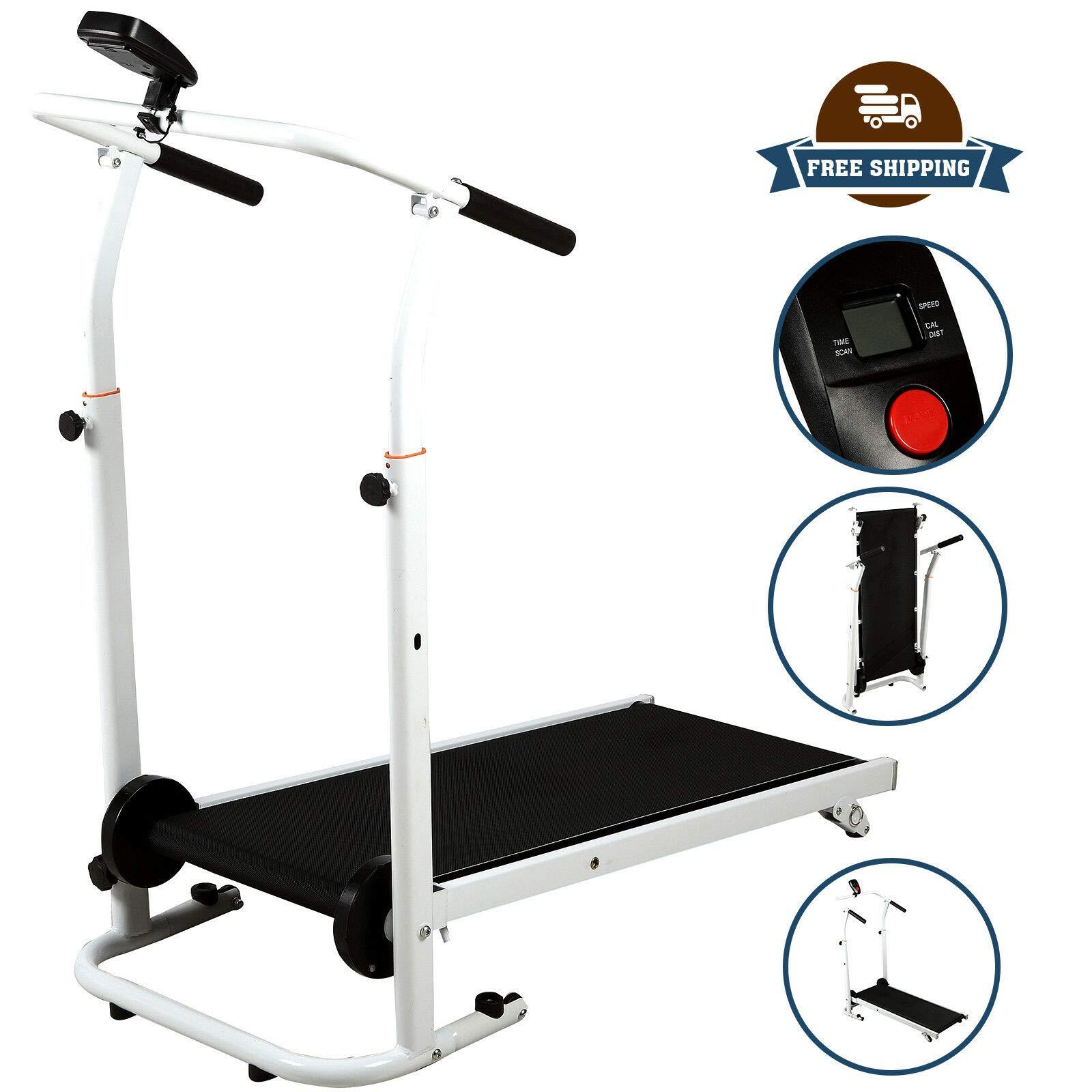 HappyShopShop Folding Adjustable Manual Treadmill Run Running Walk Walking Machine Cardio Exercise by HappyShopShop (Image #3)
