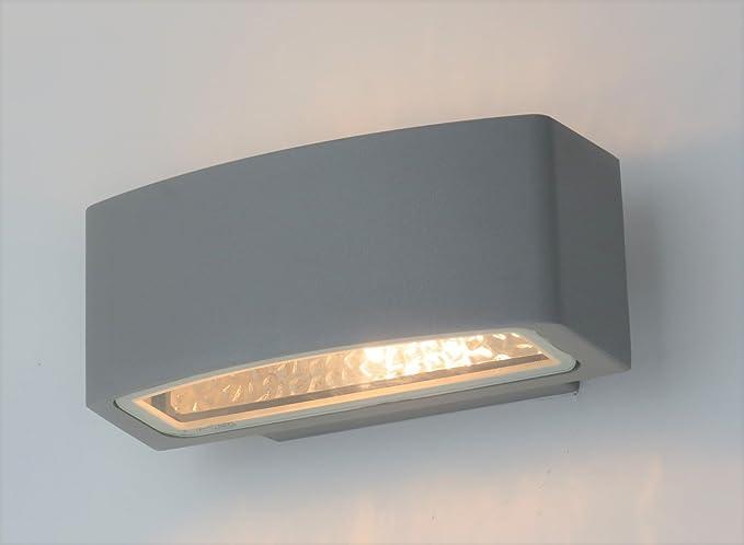 Applique Esterno Moderno : Applique lampada parete per esterno moderno silver rettangolare