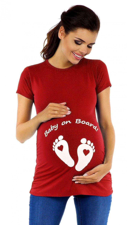 Zeta Ville - Women's Maternity t-Shirt Top Funny Baby On Board Imprint - 199c