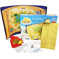 (Gotrovo Standard) - Gotrovo Treasure Hunt Game Indoor Outdoor DIY Educational Activity for Kids Pirate & Scavenger Hunt Learn through Fun - 100 Clue Cards, Treasure Map, Treasure Bar, Gold Coins and Loot Bag