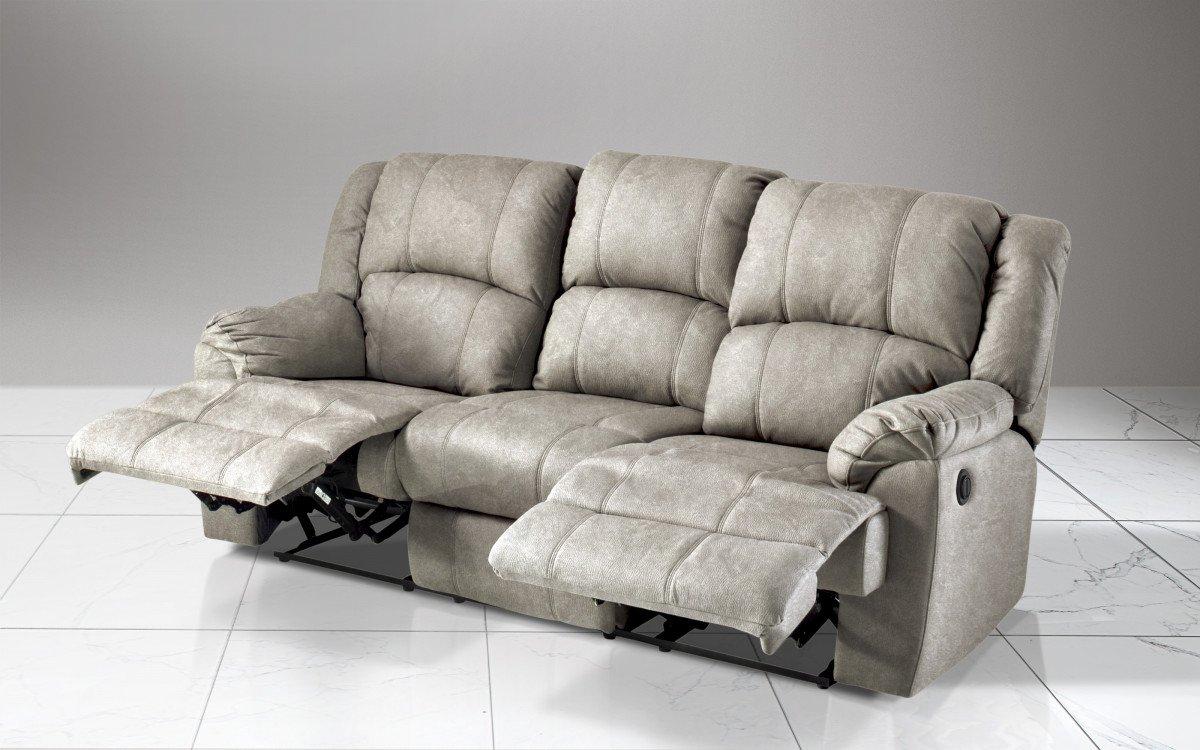 Dafnedesign. com - sintética Efecto Nobuck Light Grey sofá 3 ...